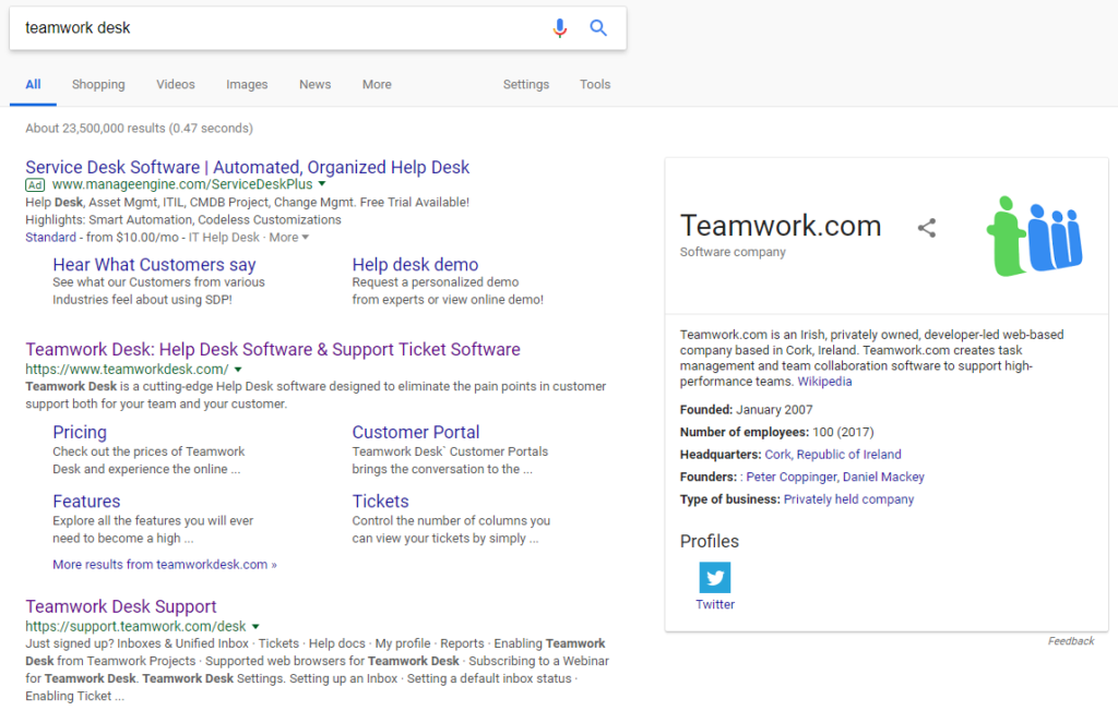 Teamwork Desk Brand SERP lookalike