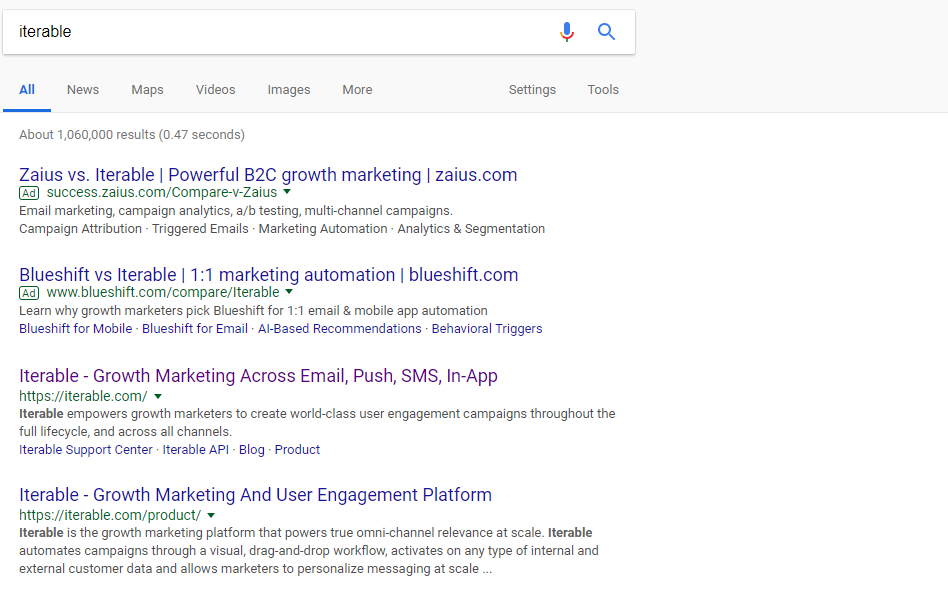 iterable SERP results
