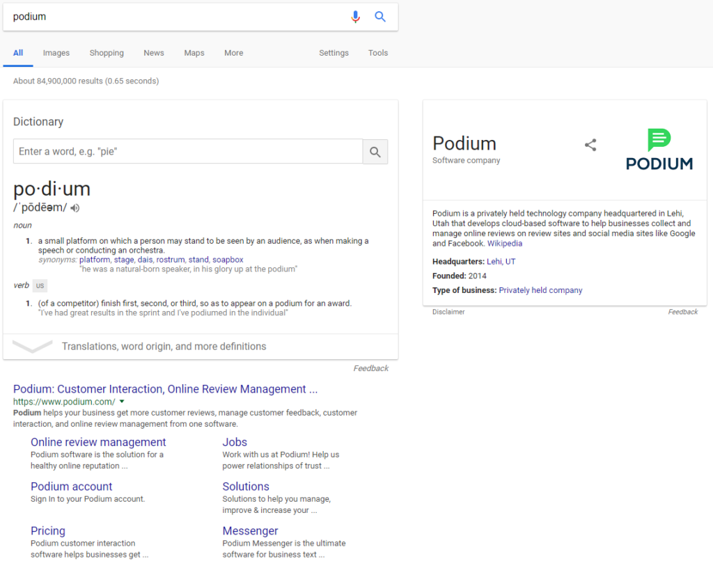 podium brand search results