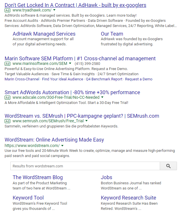 wordstream competitor ads
